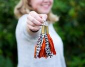 Bullet Earring, Recycled Jewelry, Sari Silk Ribbon, Boho Jewelry, Orange