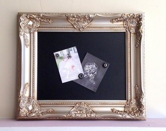 """Champagne Wedding CHALKBOARD Vintage Sign Drink Menu Picture Display Picture Frame Silver Gold Ornate Baroque Magnetic 17""""x20"""" - MORE COLORS"""