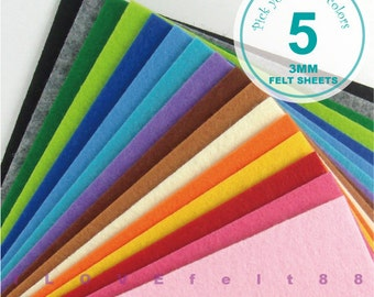 3MM Thick Felt Fabric - 5 Sheets 20cm x 20cm - Pick your own colors - 5 New Colors Added