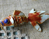 Enamel Copper Pendant Cloisonne Charm Drop Red Multicolor Articulated Fish 51x24mm-56x34mm