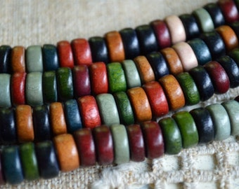 Wood Beads Rondelle Earth Tones 8x4mm Flat Disc Round Coin 2 16 Inches Strands