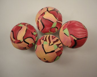 8 Cabinet Knobs/Pulls  Polymer Clay  Scrapy Knob   Shades of  Rose Orange Yellow  Abstract