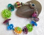 Let Them Eat Cake Lampwork Bracelet; OOAK Colorful Artisan Bracelet; Handmade Lampwork Glass Bracelet