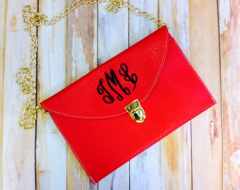 Custom Bridesmaid Gift Monogrammed Leather Envelope Clutch Red