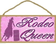 """RODEO Queen COWGIRL Western SIGN Rustic Lodge Cabin Ranch Horse Equestrian Decor 5"""" x 10"""" Plaque"""