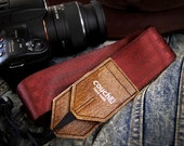 Oxblood and Buckskin Camera Strap, Made of Recycled Seatbelt