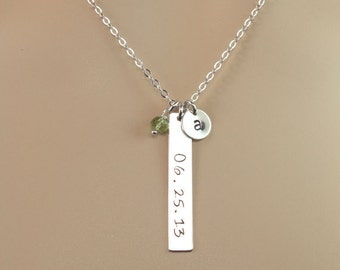 Birthdate Jewelry, Date Bar Necklace, Personalized Graduation Gift, Monogrammed Date, Birthstone, Memorial Jewelry, Date Jewelry
