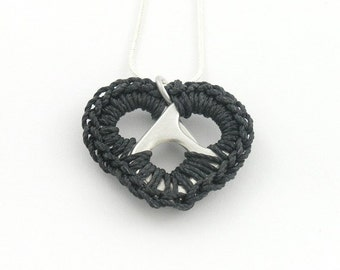 Black pop tab heart necklace - crochet heart, 16 - 18 inch silver snake chain necklace - pop tab, pull tab, ring tab, ring pull