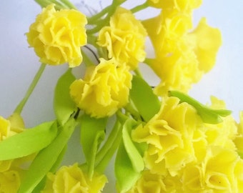 Miniature Polymer Clay Flowers Yellow Carnation with Leaves, 6 stems