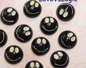 6 Smiley Face Lucite Cabochon. Black Tone.