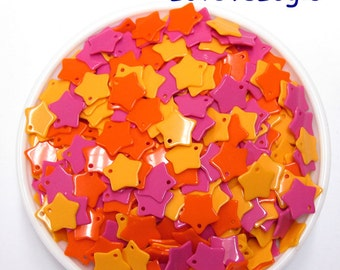 100 Star Chip Acrylic Charms. Mix Colors.