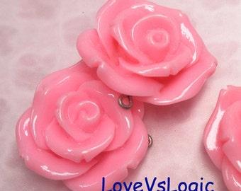 4 Huge Rose Lucite Pendants. 32mm. Dark Pink.