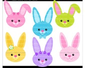 bunny clipart rabbit - Lil Hoppy Easter Bunny Faces - Digital Clip Art