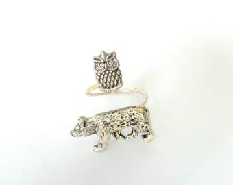 Owl bear ring wrap style, adjustable ring, animal ring, silver ring, statement ring