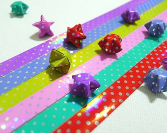 Rainbow Shower Diamond Sparkle (Polka Dots) Origami Lucky Star Folding Paper - single color pack of 30 strips