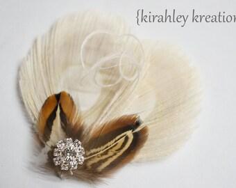Ivory Peacock Feather Hair Clip Pheasant Rhinestones TIA ALMOND Boho Bride Bridesmaids Flower Girl Hippie Wedding Prom Headpiece Fascinator