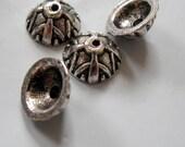 9mm Bali Style Antique Platinum Silver Acorn Bead Caps, Half Round, THIRTY, Nickel, Lead, Cadmium Free