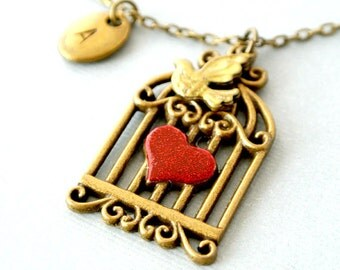 Bird in a cage necklace, Bird Cage Necklace, Valentine Jewelry,Personalized Initial Bird Necklace, Initial Necklace