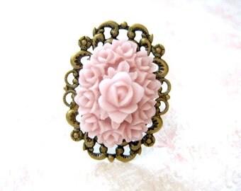 Rose Ring, Pink Oval Ring, Adjustable Filigree Ring
