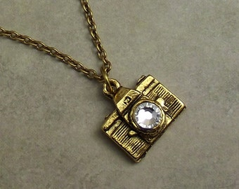 Camera Necklace, Gold Charm, Clear Crystal,