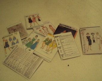Dolls House Miniatures  - 1/12th Dress Patterns x5 (Assorted)