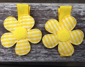 Yellow Gingham Flowers No Slip Hair clips - Hot Pink Barrettes