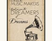 11x14 Music Makers Art Print Willy Wonka Arthur O'Shaugnessy