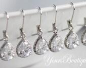 """Set of 4 - """"AVA"""" - Bridesmaid Earrings, Wedding Jewelry Gift, Cubic Zirconia CZ Dangle Earrings, Tear Drop Earrings"""