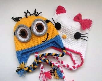 Kitty Hat and Minion Hat -Crochet Baby Hat  - for Baby or Toddler-Baby Girl Hat-for twins