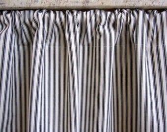 Curtain, Cabinet Curtain, Sink Curtain, Black Woven Cotton Ticking Stripe Cabinet Curtain Panel 50 x 34