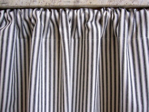 Curtain, Cabinet Curtain, Sink Curtain, Black Woven Cotton Ticking Stripe Cabinet Curtain Panel 50 x 34