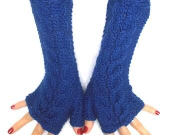 Knit Fingerless Gloves Wrist Warmers Cobalt Blue Soft Cabled