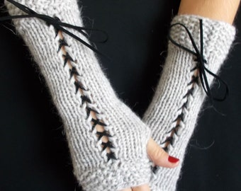 Fingerless Gloves Silver grey Grey Long Hand Knitted Corset Gloves with Black Suede Ribbons Victorian Style