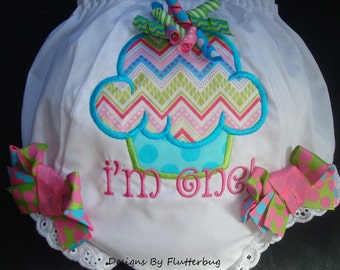 1ST BIRTHDAY Diaper Cover Bloomers - Cupcake Birthday - Cupcake in Chevron Blue and Rainbow Dot
