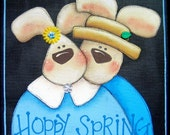 Hoppy Spring Sign, Bunny Couple, Tole Painted and Framed in Light Blue,Pair of Bunnies, Spring Sign, Whimsical Bunnies