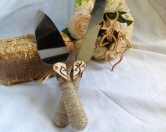 AN ORIGINAL DESIGN by ChiKaPea - Personalized Buck and Doe, Camo Rustic Barn Wedding Cake Cutting Set. Rustic or Country theme Wedding