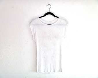 Vintage 90's Sheer White Pressed Mini Ruffle Ridges Stretchy White Blouse