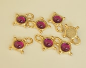 Vintage Gold Charms with Fuchsia Stones (6)