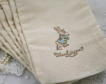 Peter Rabbit Favor Thank You Bags Bags Stamped Vintage - Blue