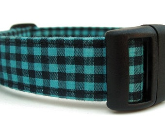Gingham Dog Collar in Black and Teal