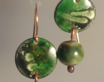 SALE! Enamel and Raku Earrings - Pine