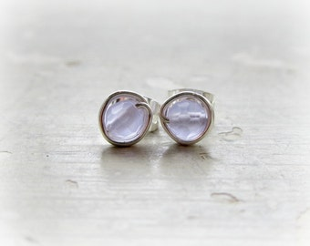 Lavender Stud Earrings, Tiny Sterling Posts, Wire Wrapped Earrings, Pale Lavender Studs, Faceted Quartz, Hypoallergenic, Gemstone Studs