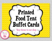 Printed Food Tent Buffet Cards to Match Any Birthday Party Theme