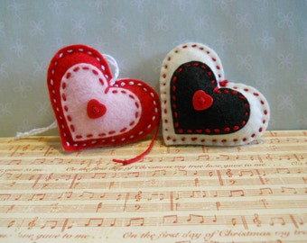 Felt Heart Ornaments Off White and Black and Red and Pink    Set of 2