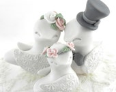Family Love Birds Wedding Cake Topper, White, Dusty Pink and Grey - Bride and Groom Keepsake, Fully Custom