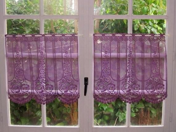 Purple Lace Curtains Pair Cafe Curtains Aubergine Kitchen