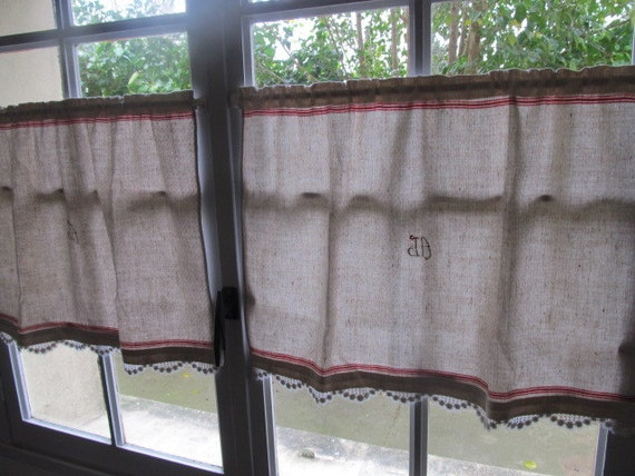 French Cafe Curtains Embroidered Monogram Pair By