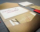"Red, Gold and Brown Invites, Modern Wedding, Rustic Invitations - ""Dramatic Script"" Pocketfold, 1 Layer, v3 - SAMPLE"