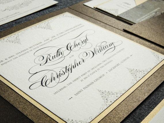 "Bronze Wedding Invitations, Neutral Wedding Invitation, Classic Wedding Invites, Gold Pocket Fold Invitations- ""Delicate Filigree"" PF-1L-v2"