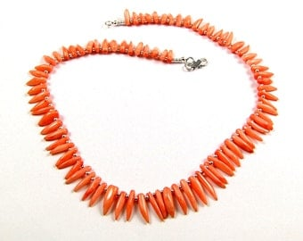 Angelskin Coral & Sterling Silver Necklace - N724